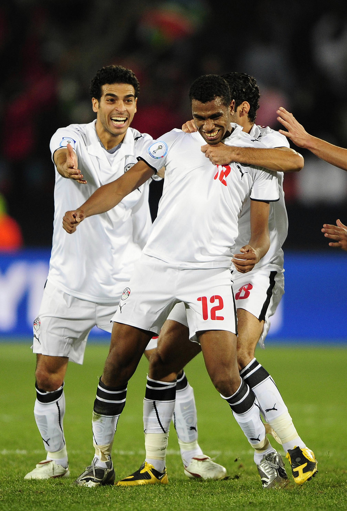 Egypt's Hommos celebrates after scoring against Italy during their Confederations Cup soccer match in Johannesburg