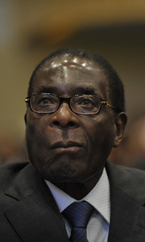 Robert Gabriel Mugabe, president of the Republic of Zimbabwe, sits in the Plenary Hall of the United Nations (UN) building in Addis Ababa, Ethiopia, during the 12th African Union (AU) Summit.