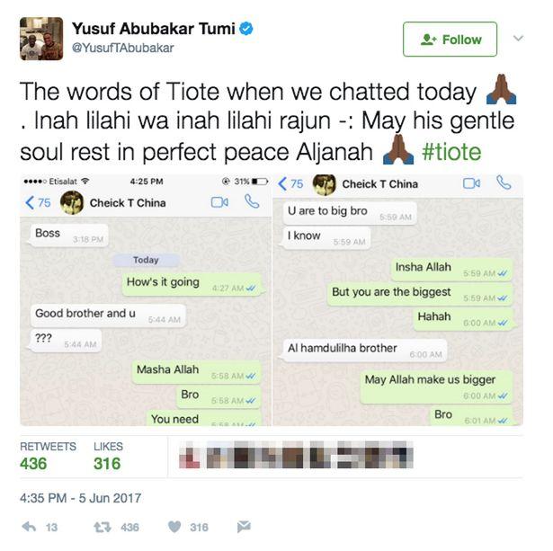 Cheick Tiote Whatsapp